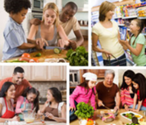 Photo collage of families cooking food together