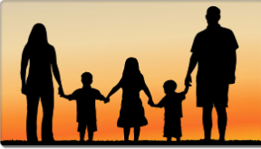 Family holding hands, silhouetted by the Sunset