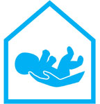 Blue SSB logo of an adult hand holding a baby in the outline of a home