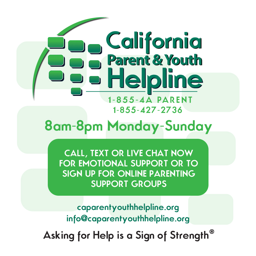 Image for California Parent and Youth Helpline with corresponding text. 1-855-427-2736, 8am-8pm Monday-Sunday