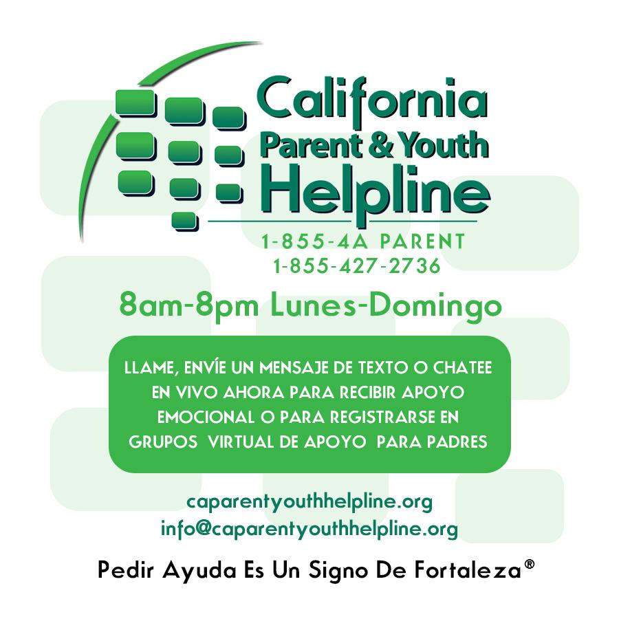 Imagen de la línea de ayuda para padres y jóvenes de California con el texto correspondiente. 1-855-427-2736, de 8 a.m. a 8 p.m. de lunes a domingo
