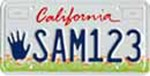 California Liscense plate with the Help Kids handprint