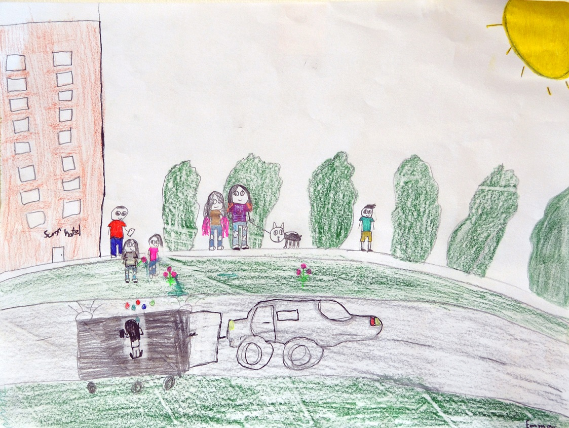 Kid Drawing of Car and Trailer