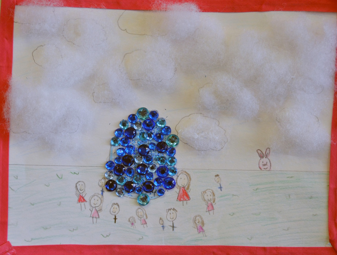 Kid Drawing of people with marbles