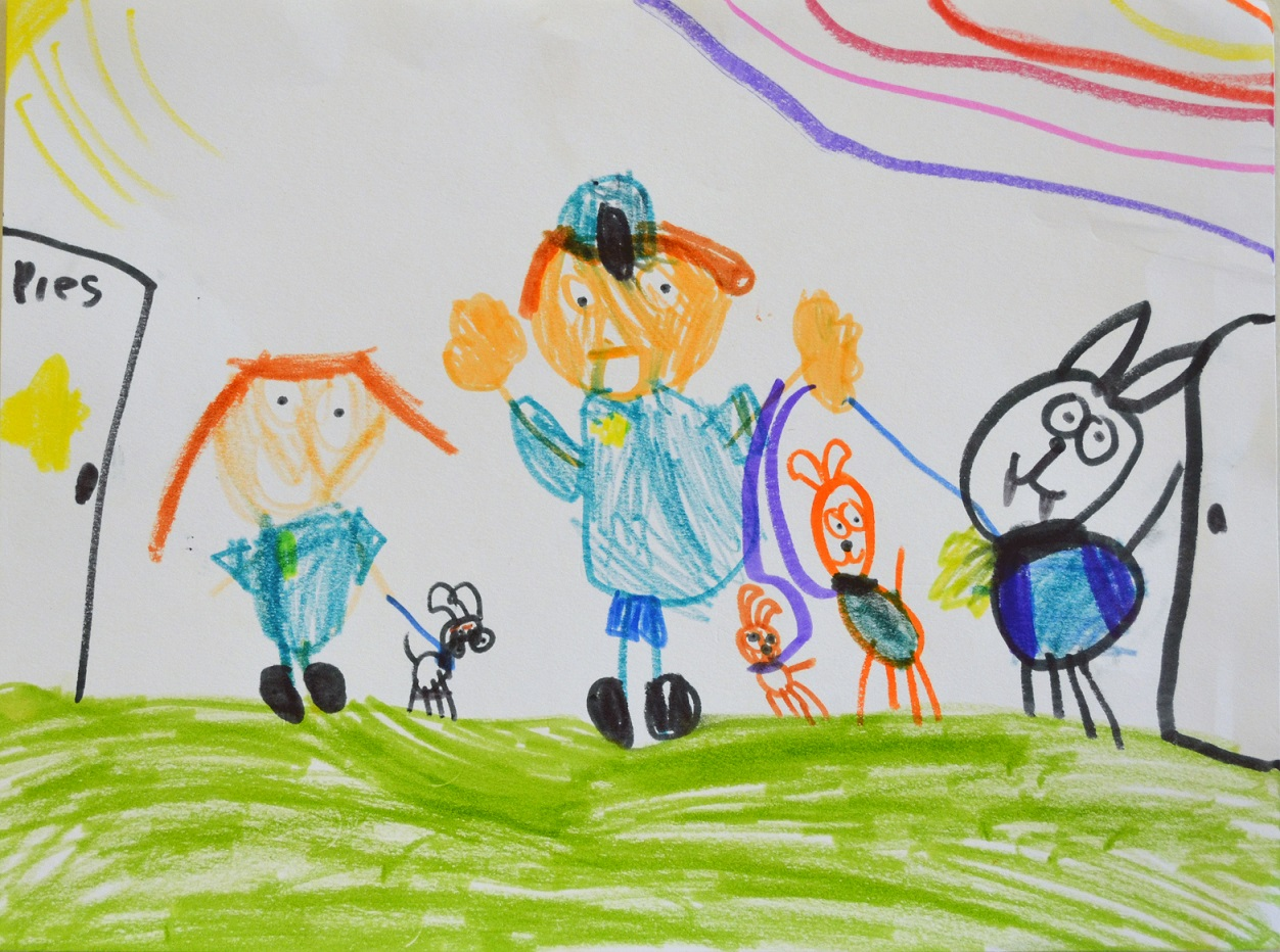 Kid Drawing of people with dogs