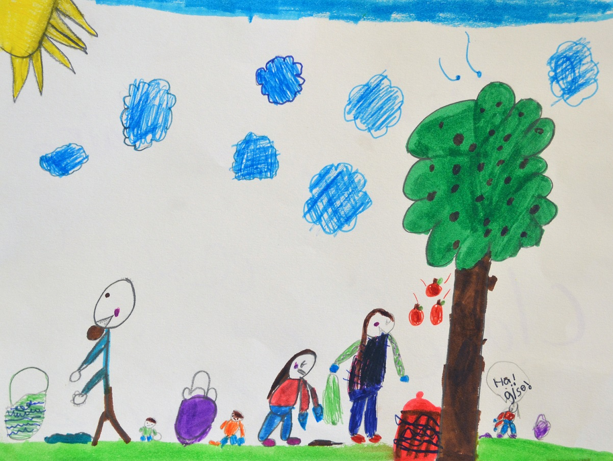 Kid Drawing of People Outside
