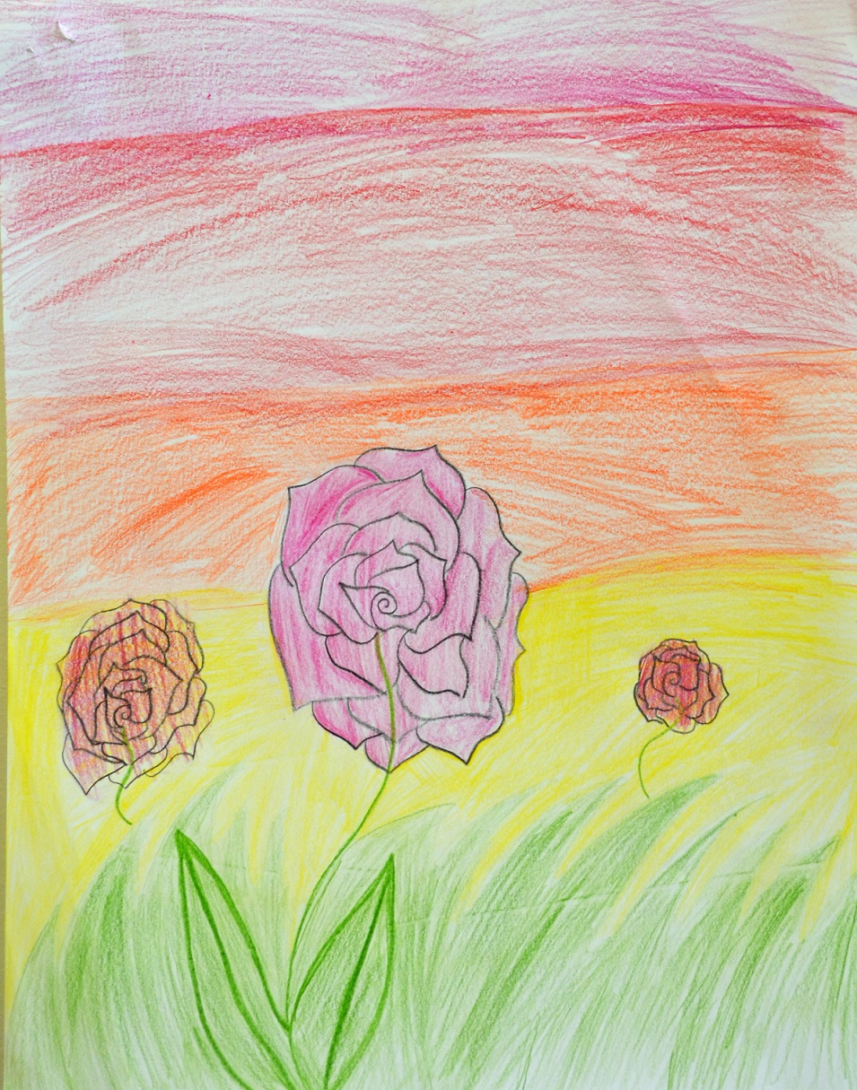 Kid Drawing of roses