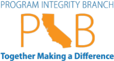Logo of Program Integrity Branch: Together Making a Difference