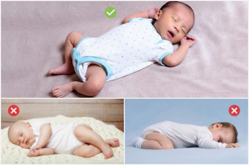 Sleeping Positions for babies and newborns. On back is good, onside and stomach are not good.