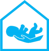 Blue Logo of Baby Placed in Adult Hands
