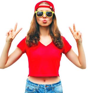 Young adult dressed in red giving peace sign