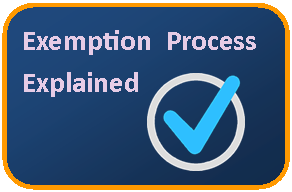 Button to the exemption process explained webpage
